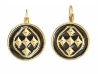 18K Gold And Black Enamel Linked Medallion  . . .