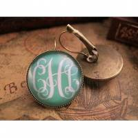 Monogrammed Round Bronze Or Silver Earrings