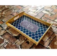 Monogrammed Wooden Serving Tray For  . . .