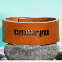 Name Cutout Leather Bracelet In 3 Colors  . . .
