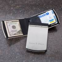 Personalized Zippo Stainless & Rubber Wallet