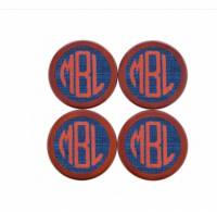 Monogrammed Needlepoint Coasters In Blue,  . . .