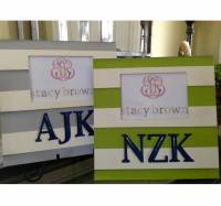 Hand Painted Monogrammed Striped Picture  . . .