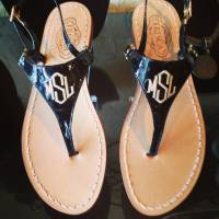 Monogrammed Italian Leather Sandals In 15  . . .
