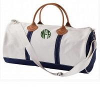 Monogrammed Round Duffel In Natural Canvas  . . .