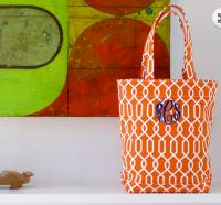 Monogrammed Medium Canvas Tote In Cable  . . .