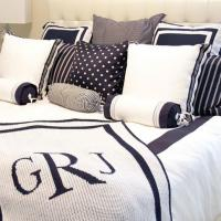 Monogrammed And Plain Patterned Knit Blankets