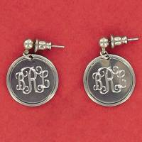 Monogrammed Pewter Round Rimmed Earrings