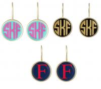 Monogrammed Small French Hook Earrings