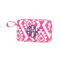 Monogrammed Pink Aztec Accessory Bag