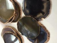 Natural Colored Agate Coasters With Gold Rim