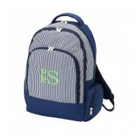 Monogrammed Navy Pinstripe Backpack With  . . .