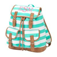 Monogrammed Campus Mint Green Striped  . . .