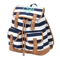 Monogrammed Campus Navy Blue Striped Backpack