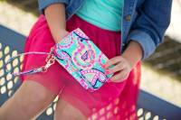 Monogrammed Mint Paisley Wristlet With  . . .