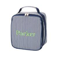 Monogrammed Navy Pinstripe Lunch Bag