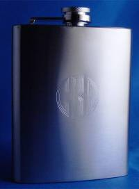 Monogrammed Brushed Stainless Steel Flask