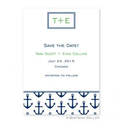 Anchors Navy Flat Card Invitation