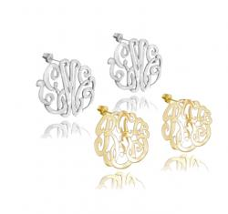 Monogram Script Earrings on Posts in Sterling Silver, Gold Plated or Rose Gold from The Pink Monogram