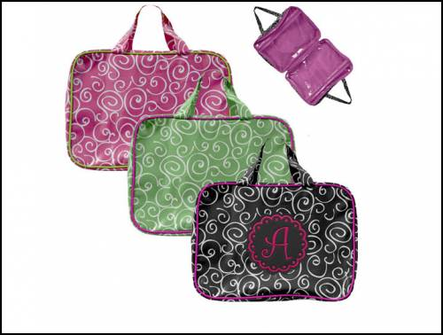 Black or Pink Swirl Cosmetic Tote