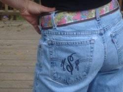 Monogrammed jean pockets