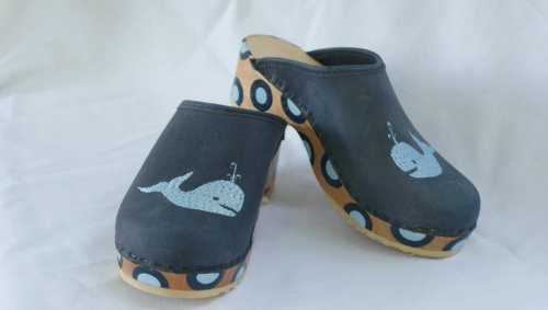 Denim Clogs With Light Blue Whale And Bulls Eye Dots