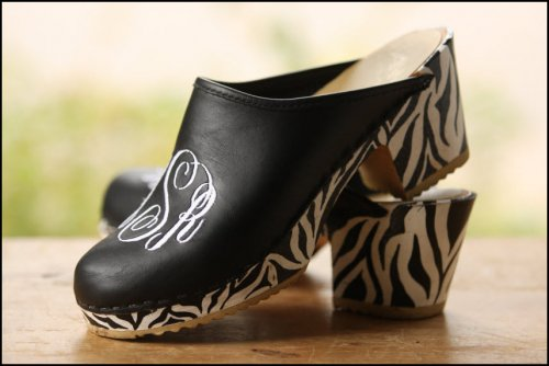 High Heel Clog Black Leather White Thread With Bw Zebra