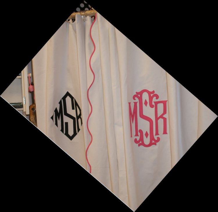 le scallop monogrammed shower curtain