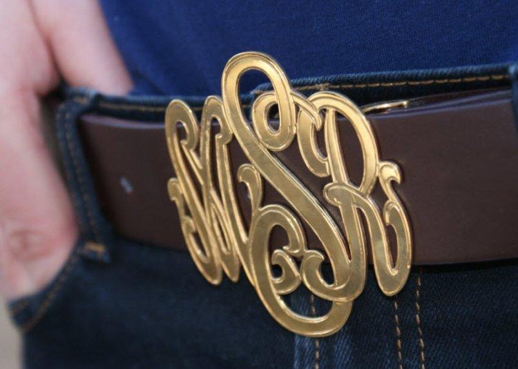 the pink monogram signature custom belt buckle