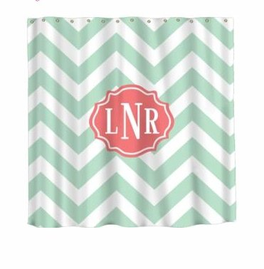 Monogrammed Shower Curtain Colorful Design Choices