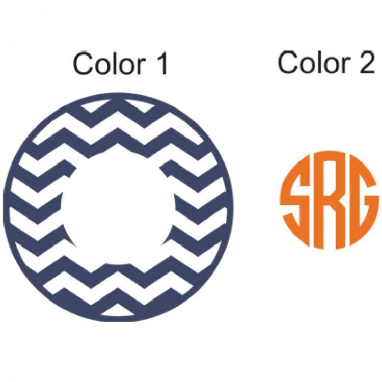 monogram chevron vinyl car decal in circle or script fo