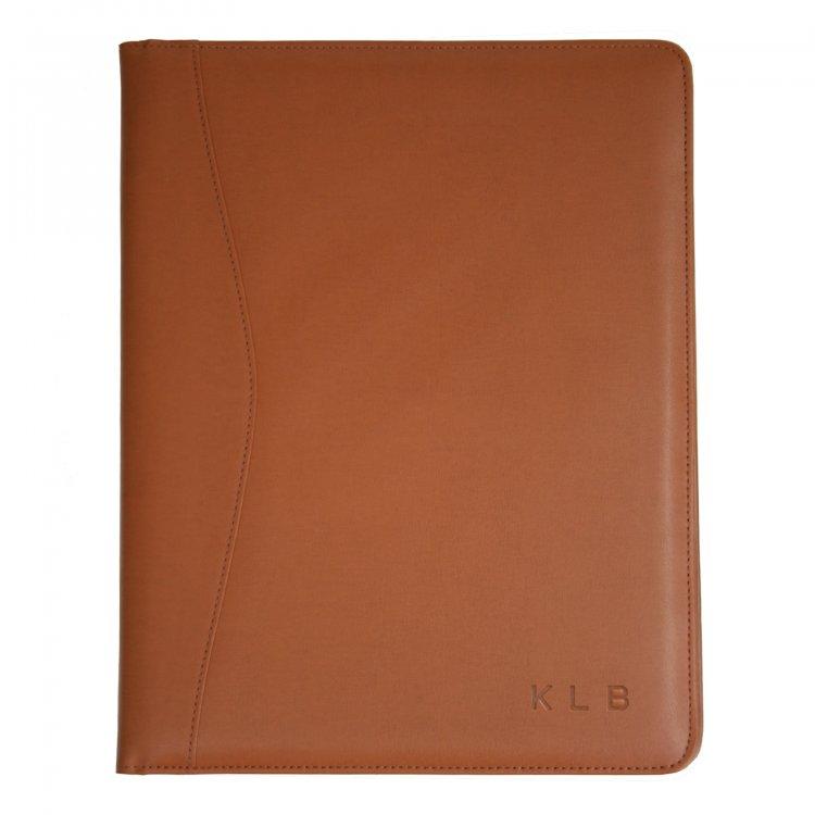 personalized embossed leather padfolio folder