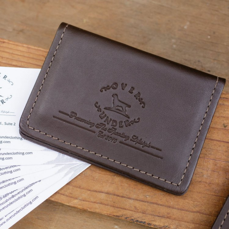 Monogrammed leather sportsman business card holder for Monogrammed leather business card holder