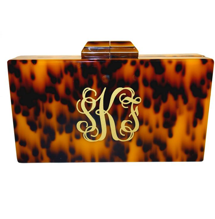 monogrammed tortoise shell clutch with chain
