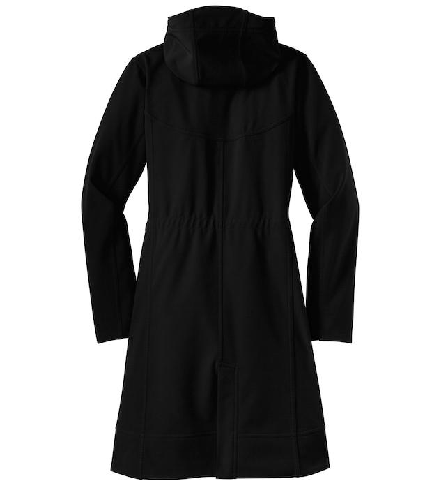 ladies monogrammed black long soft shell jacket