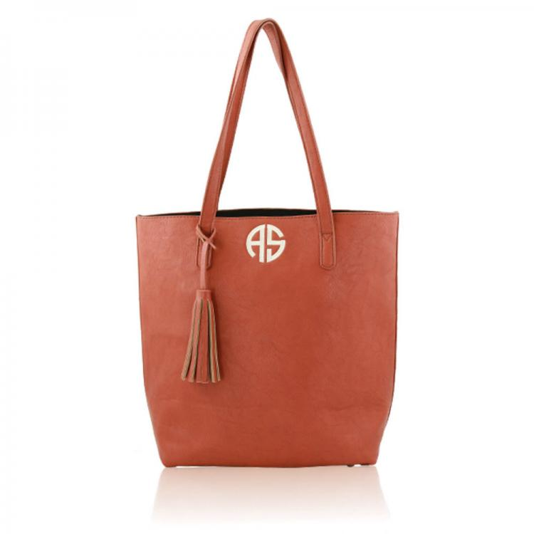 monogrammed tote camel shoulder bag with tassel