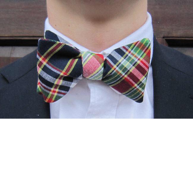 preppy newport plaid bow tie