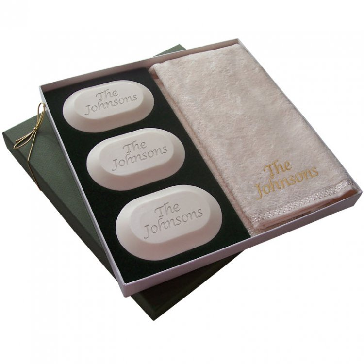 monogrammed soap and hand towel set