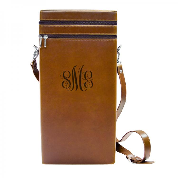 Personalized Italian Leather Vineyard Wine Tote With To