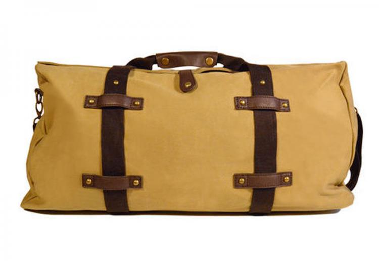 Khaki Waxed Cotton Canvas Monogrammed Duffle Bag