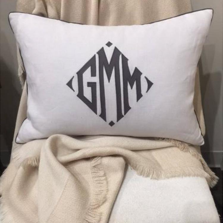 Linen Monogram Throw Pillow: Matouk Monogrammed Linen Pillow