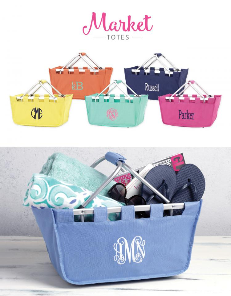 monogrammed market totes are always in season