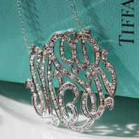 Three letter script necklace with CZ