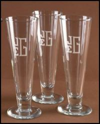 Personalized set of Four Pilsner Glasses