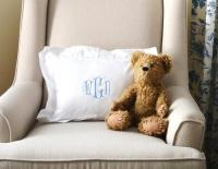 Monogrammed White Boudoir or Baby  Pillow