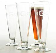 Monogrammed Set of Four Pilsner Glasses