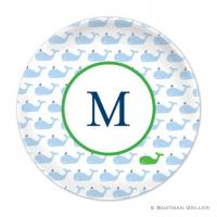 Whale Blue Repeat Melamine Plate