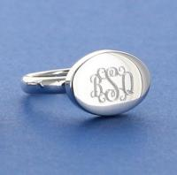 Silver Engraved Ladies Oval Ring