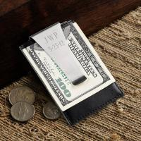 Personalized Money Clip and Card Holder Men's Leather