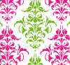 Preppy damask fuschia and green